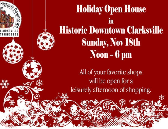 Holiday Open House in Historic Downtown Clarksville