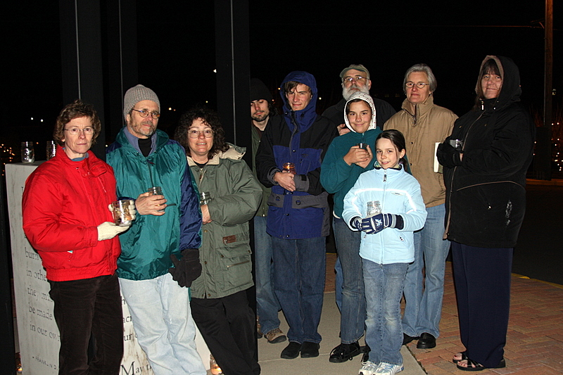A group picture of the attendees of the candlelight prayer vigil