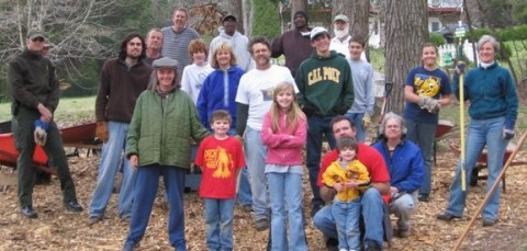 The volunteers who helped the friends of Dunbar Cave spread the mulch in 2008
