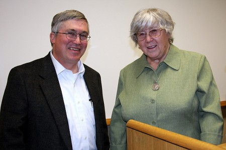 University President Tim Hall with Author Joanne Greenberg.