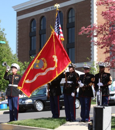 The Marine Corp honor guard presents the colors