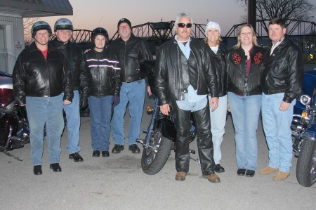 The improving weather over the last couple of days has encouraged motorcycle enthusiasts to bring out their cycles. In this picture are: Gilbert Pulley & Sonja Proctor, Gary & Raini Akins, Clarence & Laurie Slusher, and Jeff & Liz Jenson, all from Clarksville