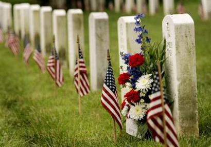 US Flags at Veterans Headstones