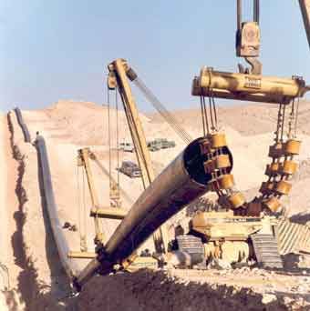 Constructing oil pipelines in the Middle East