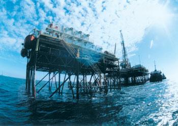 A oil platform in the Caspian Sea