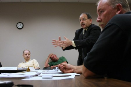 Attorney Peter Napolitano argues a point as Steve Sherlock observes