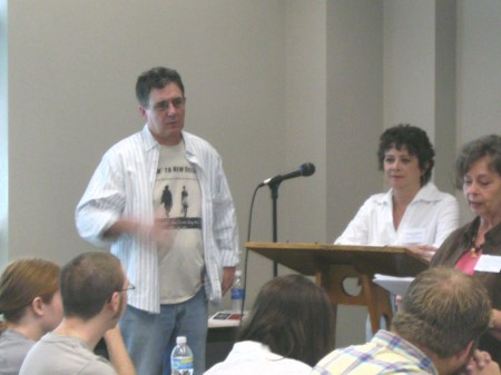 Authors Hudson and Formichella are introduced to attendees