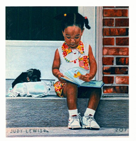 """""""Portrait of Alexis"""" (17 X 17, 1996) shows a young girl and her pet dog sitting on the steps as she enjoys coloring in her coloring book."""