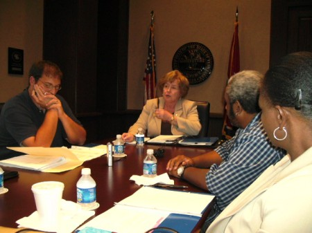 County Mayor Bowers, center, opens ad hoc cmte meeting with concerned minority citizens