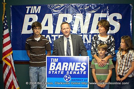 Tim Barnes and family at a press conference