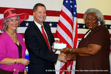 Tim Barnes receiving receiving the endorsement of the Tennessee Federation of Democratic Women presented by president Delinia Storr