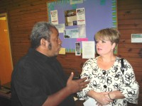 Cindy Pitts (r) chats with Terry McMoore, Clarksville For Obama Chair