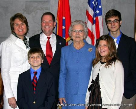 Senator Tim Barnes with family in the Senate Lounge