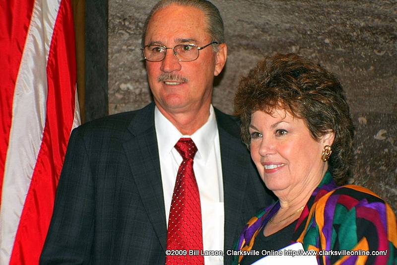 Newly elected Speaker Kent Williams with his wife Gayle greet the press
