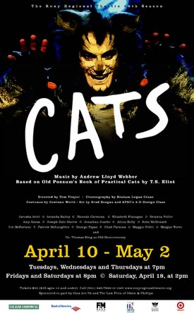 Poster for Cats at the Roxy Regional Theatre