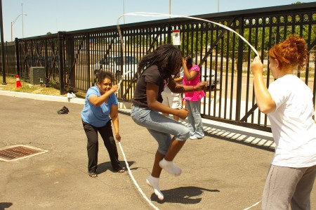 "Marisa Morgan, age 11, demonstrates her skill at ""Double Dutch"" rope jumping. (Coriana Close, Plain Press)"