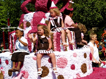 Little princes and princesses riding high in the parade