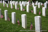 Flags adorn headstones at Fort Donelson National Cemetery