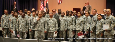 Newly sworn citizen soldiers pose with Congressman Zach Wamp