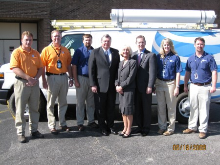 Paul Mahaney, AT&T Supervisor; Greg Poston, AT&T Area Manager; Jonathan Bumpus, Outside Plant Technician; State Representative Curtis Johnson; Lanie Johnson, AT&T Legislative and External Affairs; State Representative Joe Pitts; Alison Hayes, AT&T Service Technician/U-verse Field Support; Mike Watson, AT&T Network Manager.