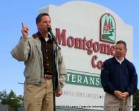 State Senator Tim Barnes and State Representative Joe Pitts speaking at Veterans Plaza