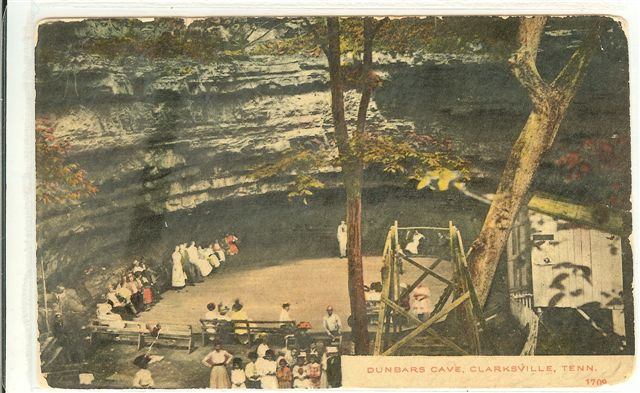 cave  hand colored postcard  picture taken 1890