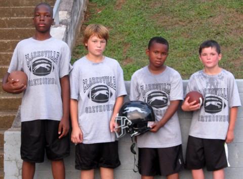 Clarksville Greyhound players, Kevin Reid, Tad Wilkinson, JhaQunites Johnson and Nicholas Hawkins.