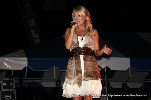 Carrie Underwood performing on stage