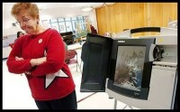 A Diebold voting machine was smashed in Allentown, PA during the Primary Election on 04/22/08