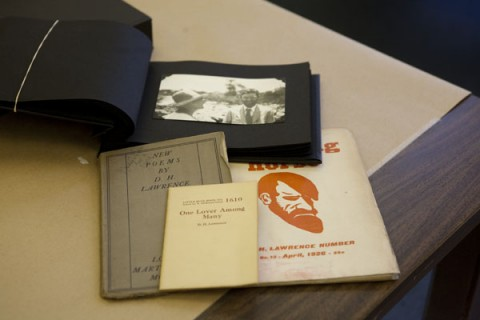 These items, along with a photograph of D.H. Lawrence, are part of the D.H. Lawrence collection in the APSU Woodward Library. (Melony Shemberger | APSU Public Relations and Marketing)