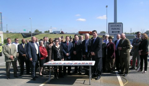 Officials from TDOT, Department of Safety, Governor's Highway Safety Office, Department of Health, Federal Highway Administration, Federal Motor Carrier Safety Administration, AARP, AAA Auto Club South, Walk/Bike Nashville and several other key safety partners pause after signing the new Strategic Highway Safety Plan.