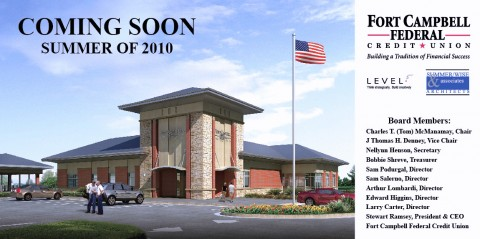 Sketch of the Fort Campbell Federal Credit  Union branch, set to open on Dover Crossing in the summer of 2010