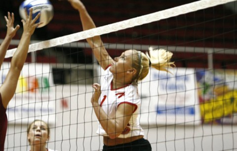Senior outside hitter Stephanie Champine led the Lady Govs with 13 kills in a loss at Lipscomb, Tuesday night. (Courtesy: Lois Jones/Austin Peay)