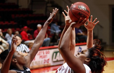 Sophomore Jasmine Rayner posted her second-career double-double in the Lady Govs overtime loss to Pittsburgh, Saturday. (Robert Smith/The Leaf-Chronicle)