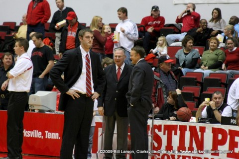 APSU Head Coach Dave Loos speaking with the Southeastern Missouri coach before the game