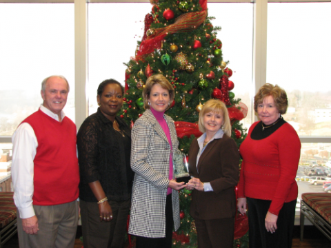 "The ""Best Overall"" award was presented to F&M Bank. (Pictured from left to Right are: City of Clarksville Mayor Johnny Piper, F&M Bank Employees Khandra Smalley, Cindy Clements, Shela Williams and Montgomery County Mayor Carolyn Bowers. Photo Elizabeth Black)"