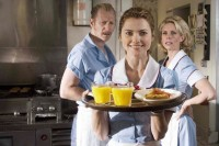 Keri Russell floats on cloud nine as Cheryl Hines and Lew Temple look on. Photo Credit: Alan Markfield : Waitress