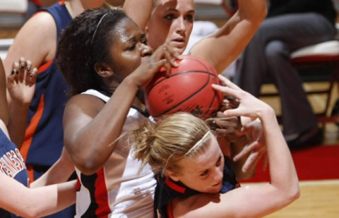 Senior Nicole Jamen recorded her season's fifth double-double in the Lady Govs victory against UT Martin, Thursday night. (Robert Smith/The Leaf-Chronicle)