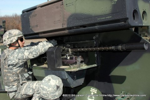 "Soldiers of the 2-44th ""Strike Fear"" Air Defense Artillery Battalion ready their weapon for firing during training back in Feb. 2010."