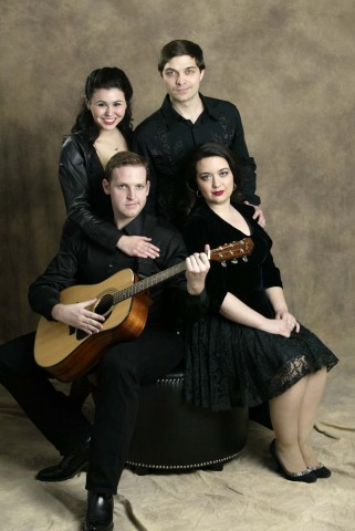 Pictured, clockwise from bottom left: Brian Veith, Mindy Wedner, Nathan Freeman, Melissa Dowty the cast of The Ring of Fire Musical. (Photo courtesy of Greg Williamson / The Leaf-Chronicle)