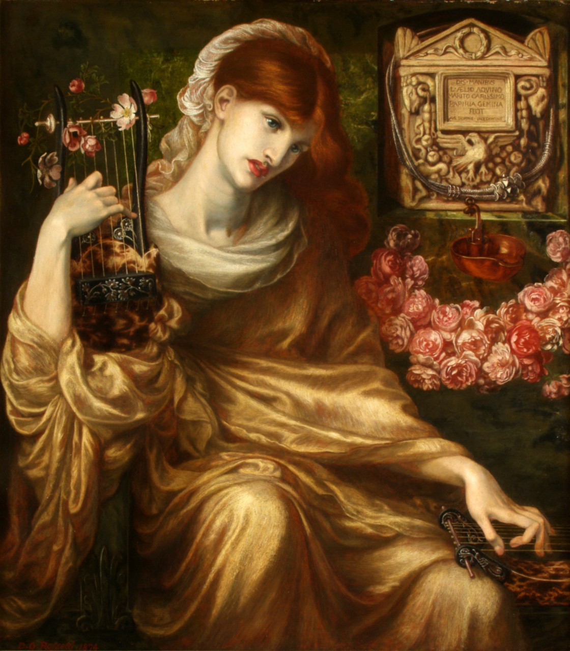 Roman Widow (Dîs Manibus) 1874 by Dante Gabriel Rosetti (English, 1828–1882, Oil on canvas, 41 ¾ x 36 9/16) from the Museo de Arte de Ponce, Ponce, Puerto Rico