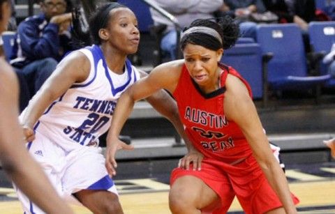Ashley Herring led the Lady Govs with 14 points in its loss at Tennessee State, Saturday. (Robert Smith/The Leaf-Chronicle)