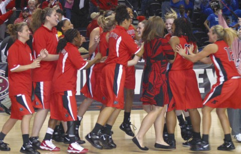 The Lady Govs Celebrate their victory at the OVC Tournament (Austin Peay Sports Information)