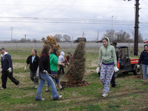 During spring break 40 college students from North Dakota State University and the surrounding area, rolled up their sleeves and volunteered their time mulching around the many trees found at Heritage Park