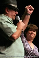 Hank Bonecutter with Denise Skidmore at the Comedy Benefit for Project F.U.E.L.