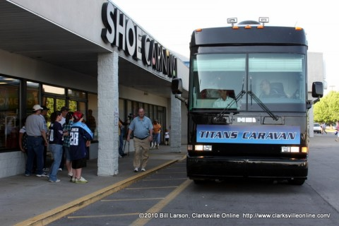 The Titans Caravan XIII tour bus stops in front of the Clarksville, TN Shoe Carnival
