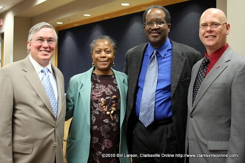 APSU President Tim Hall; Wilbur N. Daniel African American Cultural Center Director Beulah Oldham; Poet Afaa Weaver; and Christopher Burawa, Director of the Center of Excellence for the Creative Arts.