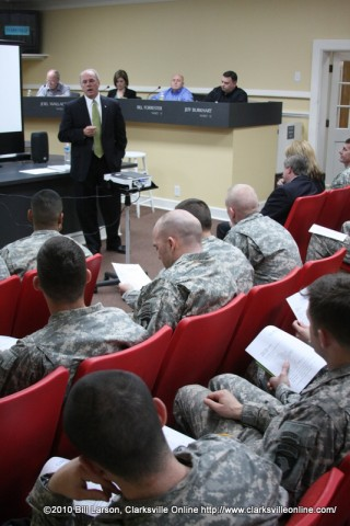Clarksville Mayor Johnny Piper addresses the soldiers of the 3rd Battalion, 187th Infantry Regiment, 3rd Brigade Combat Team of the 101st Airborne Division.