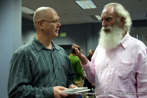 Professor Malcolm Glass speaks with Christopher Burawa (left) of the APSU Center of Excellence for the Creative Arts after the reading.