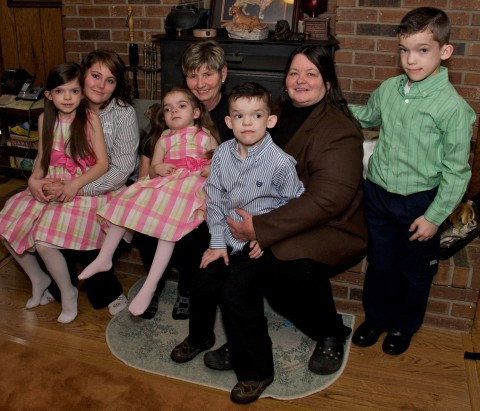 Linda Winford with Rebecca and her other family members. (left to right):   Jolene Crews holding Rosemary Lyons-Winford; Linda Winford holding Rebecca Lyons-Winford; Kathy Lyons holding Robert Lyons-Winford; and Ronald Lyons-Winford. (Tim Cope)